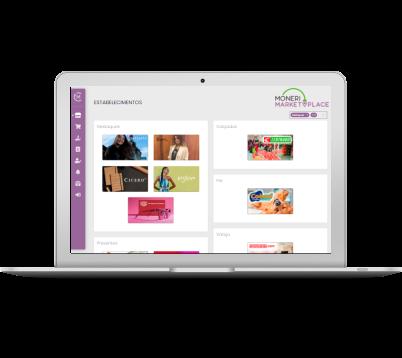 Imagem de um notebook com a plataforma do Marketplace em tela.