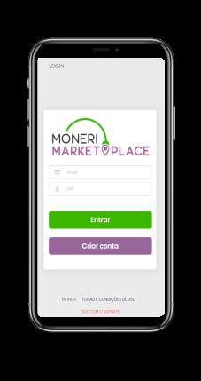 Imagem de um iPhone com a página de login do Marketplace em tela.
